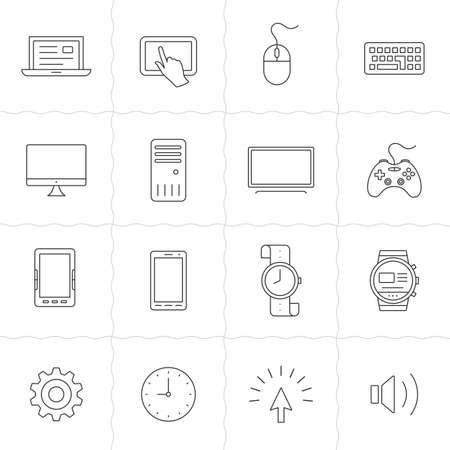 PHONE LINE: Gadgets linear icon set. Electronic gadgets and computer devices. Simple outlined icons. Linear style