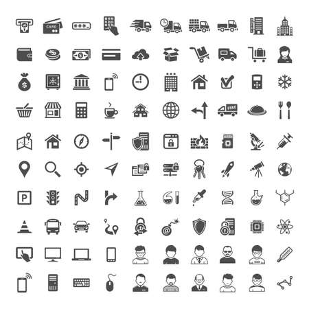 100 Universal Icons. Simplus series. Each icon is a single object