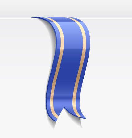 tape marker: Blue bookmark decoration ribbon with golden lines. Vector illustration