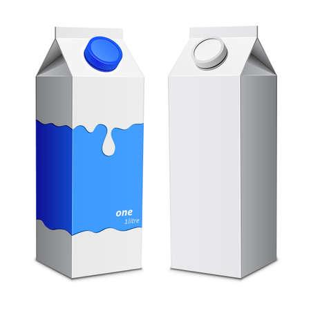 Rectángulo de la leche plantilla de impresión. Cartones de leche con tapón de rosca. Ilustración vectorial Foto de archivo - 37721336