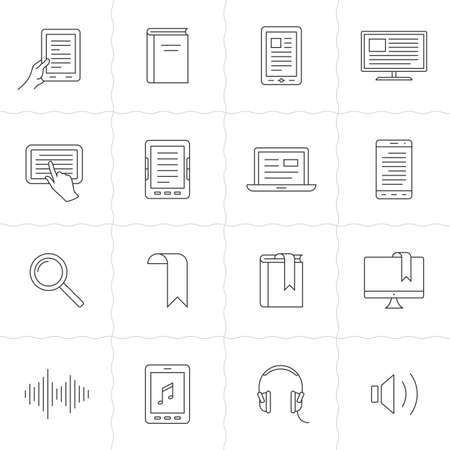 audio book: Electronic and audio book linear icons. Simple outlined e-books icons. Linear style