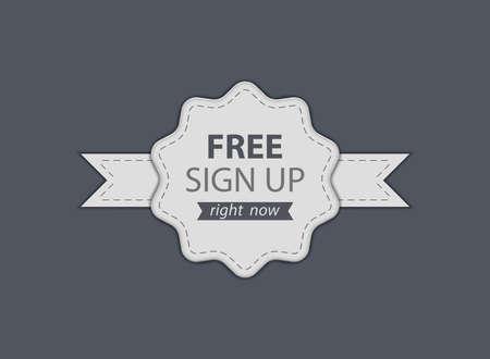 bage: Free Sign Up badge. Vector illustration