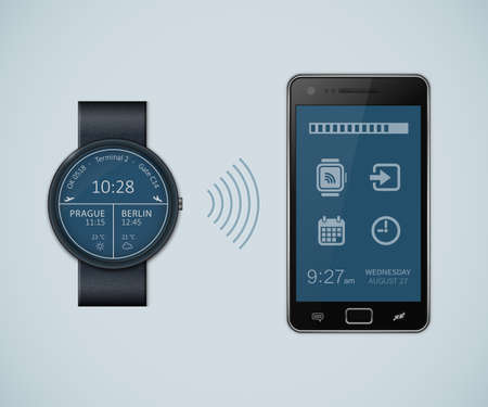 chronograph: Synchronization between smartwatch and smartphone. Vector illustration of smartwatch and smartphone communication