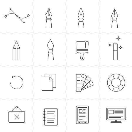 prepress: Designer tools II. Vector icons of drawing and painting tools. Simple outlined icons. Linear style Illustration