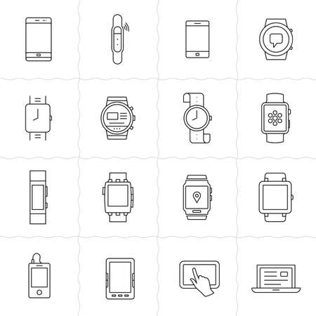 togs: Mobile gadgets and smart watches linear icon set. Wearable  electronic devices. Simple outlined icons. Linear style