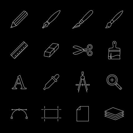prepress: Vector icons of drawing and painting tools. Outlined icons on black. Designer tools