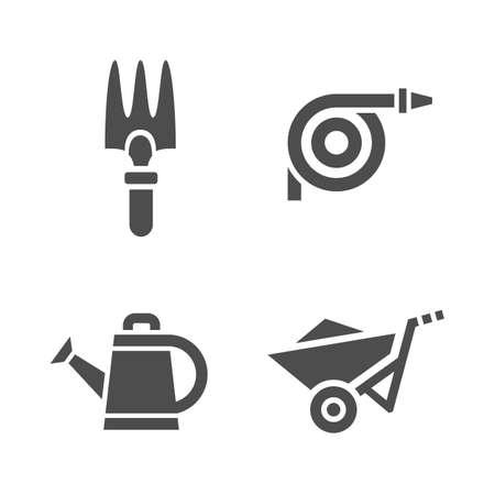 watering pot: Gardening tools. Vector icons of garden tools Illustration