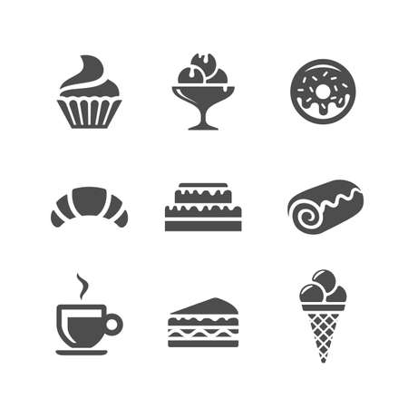 confectionery: Cafe and confectionery vector icons. Sweet baked goods and desserts Illustration
