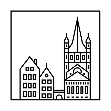 apartment tower old town: Vector city skyline and buildings. Cityscape icon Illustration