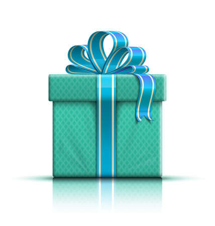pledge: Nice color glossy gift box with bow and ribbon. Vector illustration