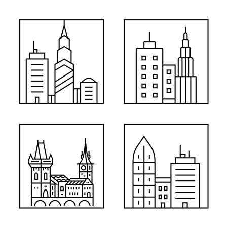 apartment tower old town: Cityscape icons. Urban city and old town skyline and buildings Illustration