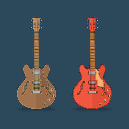 guitar neck: Flat icons of guitar. Vector flat illustration