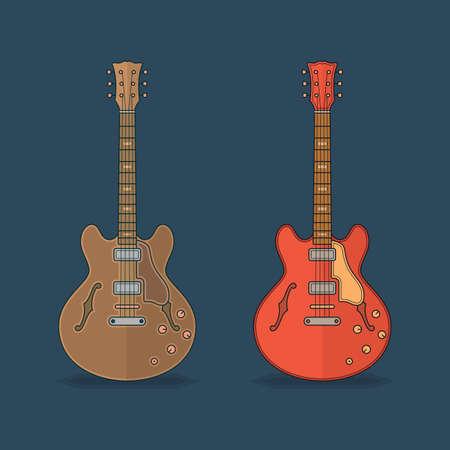 gitara: Płaskie ikony gitary. Ilustracja wektora płaskim
