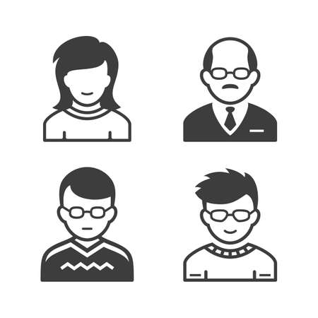 user icon: Avatar and user icon set. Occupation and people icons. Vector illustration Illustration