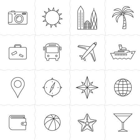 tourismus icon: Reisen und Tourismus Icon Set. Urlaub und Reise-Icons. Einfache Symbole skizziert. Linearen Stil