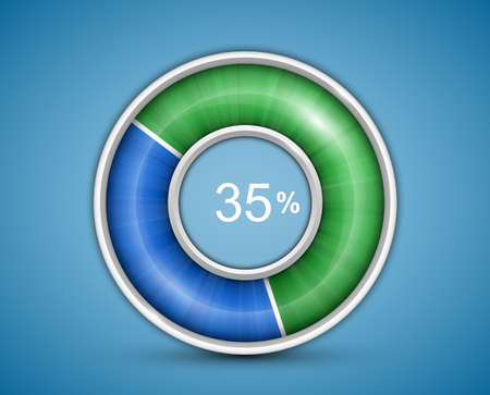 pre loader: Pie chart, round progress bar on blue background with blue-green indicator. Infographic elements. Vector illustration Illustration