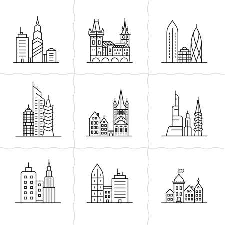 architecture pictogram: Cityscape icons. Urban city and old town skyline and buildings Illustration