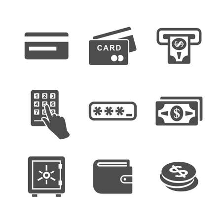 paper currency: ATM, cash machine and money icon set. Simplus series vector icons Illustration