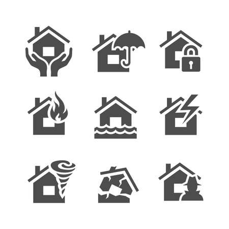 incendio casa: Iconos seguros de cosas. Inicio protecciones y los riesgos de seguros. Ilustración del vector. Serie Simplus