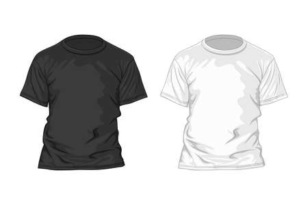 t short: Black and white t-shirt design template. Vector illustration Illustration