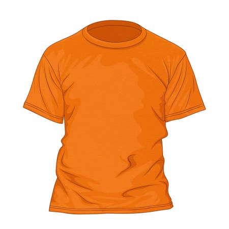 t shirt model: Orange t-shirt with texture. Design template. Vector illustration Illustration