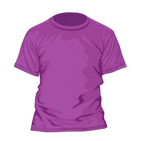 morado: Púrpura camiseta con textura. Plantilla de diseño. Ilustración vectorial