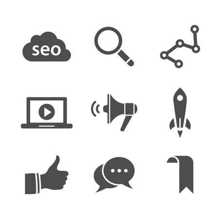 simplus: Iconos de SEO. B�squeda Web, iconos de marketing en Internet. Ilustraci�n del vector. Serie Simplus