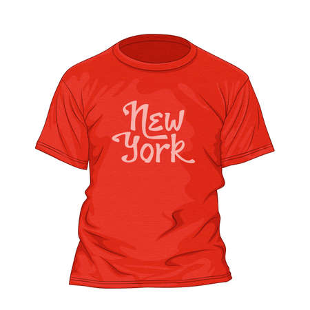 cloth back: New York hand lettering. T-shirt design template with texture. Vector illustration
