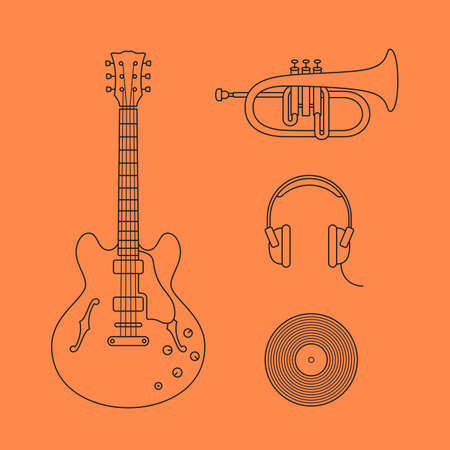 headstock: Musical instruments icons. Vector illustration