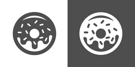 sweetened: Doughnut icon. Two-tone version of donut vector icon on white and black background. Small fried cake of sweetened dough, in the shape of a ring.