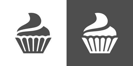 カップケーキ アイコン。白と黒の背景上にカップケーキ ベクトル アイコンのツートン カラー バージョンです。小さなケーキが 1 人を提供するよう