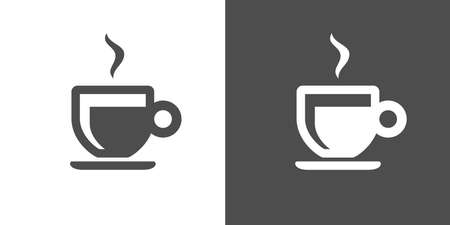 under pressure: Espresso icon. Two-tone version of espresso vector icon on white and black background. Coffee brewed by forcing a small amount of nearly boiling water under pressure through finely ground coffee beans