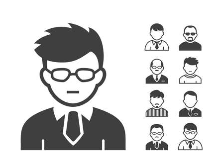 director de escuela: Avatar y el icono de usuario conjunto. Ocupación y Iconos de la gente. Ilustración vectorial