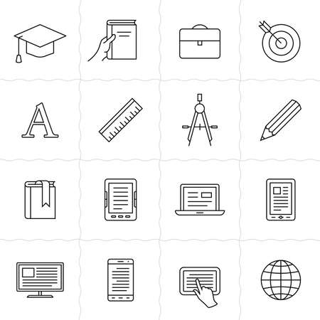 postgraduate: Remote education linear icons. Simple outlined e-learning icons. Linear style