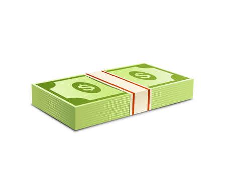 pack of dollars: Money bundle of dollars bank notes. Pack of dollars. Vector illustration. Packs of dollars money