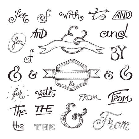 catchword: Collection of handwritten catchwords and ampersands. Vector illustration