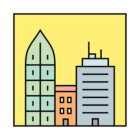 city icon: Urban vector illustration.  City skyline and buildings. Cityscape icon