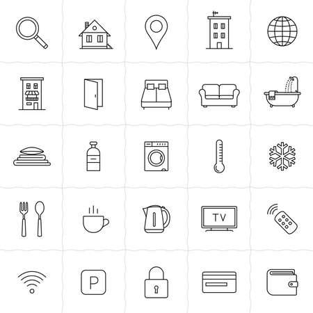 letti: Affittare alloggio e sistemazione prenotazione icon set. Illustrazione vettoriale