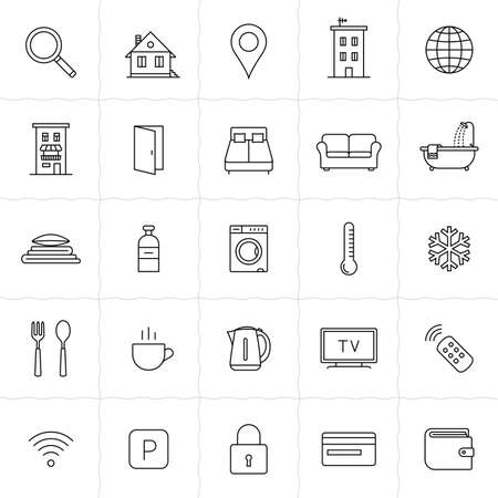 accommodation: Rent out lodging and accommodation booking icon set. Vector illustration