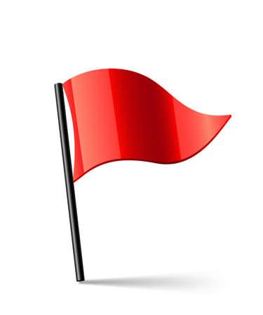 triangular shape: Vector illustration of red triangular waving flag Illustration