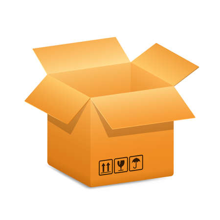 shipping: Cardboard shipping box with safety fragile transportation signs. Vector illustration Illustration