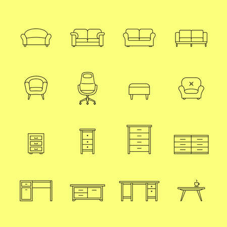 davenport: Furniture icons. Icons for furniture market. Linear style Illustration