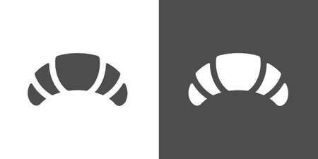 sweetmeat: Croissant icon. Two-tone version of croissant vector icon on white and black background