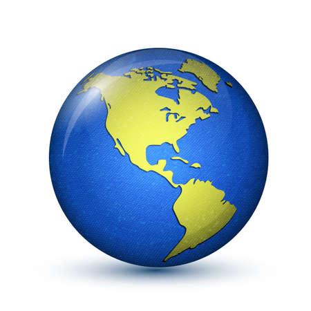america del sur: Tierra. Del Norte y América del Sur. Ilustración vectorial