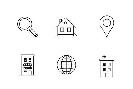 rent: Accommodation and rent out lodging icon set. Vector illustration