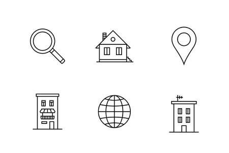 hospedaje: Alojamiento y alquilar icono de alojamiento conjunto. Ilustración vectorial