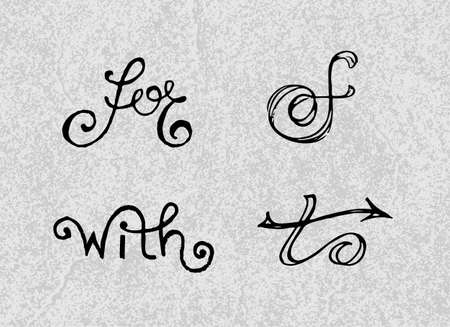 catchword: Collection of handwritten catchwords. Vector illustration