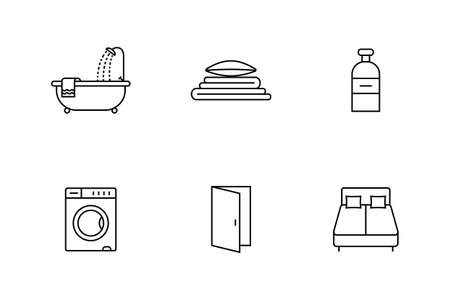 accommodation: Accommodation and rent out lodging icon set. Vector illustration