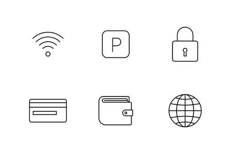 hotel hall: Accommodation and rent out lodging icon set. Vector illustration