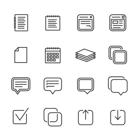 memos: Notes, memos and plans linear icons. Outlined icons. Linear style